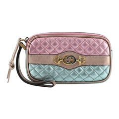 Gucci Trapuntata Wristlet Quilted Laminated Leather