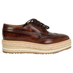 PRADA Tobacco brown MICROSOLE BRUSHED LEATHER DERBY Shoes 38.5