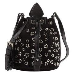 Saint Laurent Anja Bucket Bag Studded Suede Small