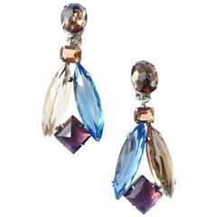 Schreiner of New York blue amethyst and smokey topaz drop earrings, 1960s