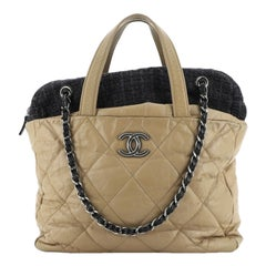 Chanel Portobello Zip Tote Quilted Glazed Calfskin and Tweed