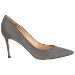 GIANVITO ROSSI grey calf hair Pointed Toe Stiletto Pumps Shoes 36.5