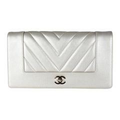 Chanel Gold Chevron Quilted Sheepskin Mademoiselle Vintage Clutch