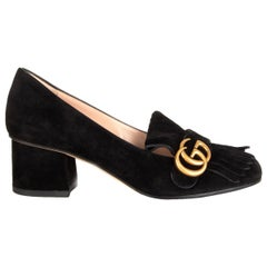 GUCCI black suede MARMONT FRINGED BLOCK HEEL Pumps Shoes 38