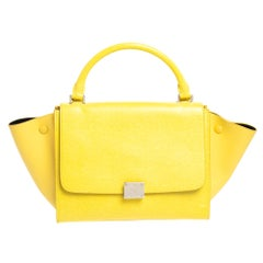 Celine Yellow Leather Mini Trapeze Top Handle Bag