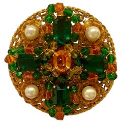 Chanel Vintage 1990s Green/Amber Stone Brooch/ Pendant