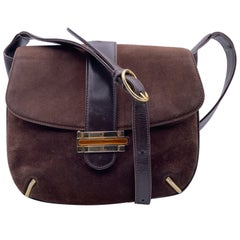 Gucci Vintage Brown Suede Enamel Closure Flap Shoulder Bag