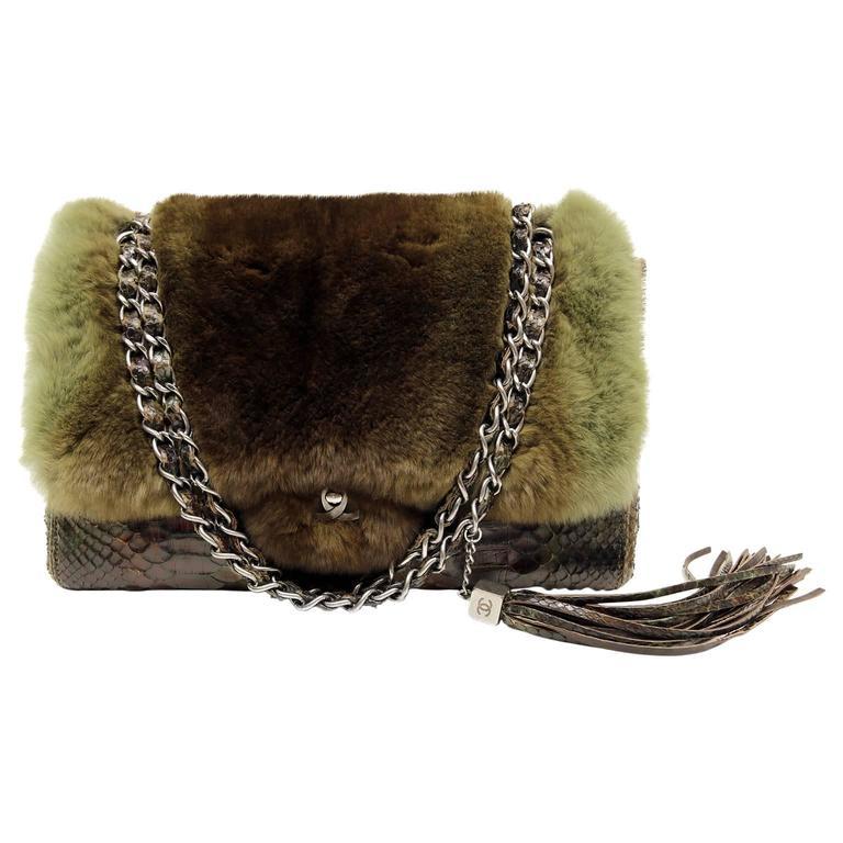 Chanel Green Brown Chinchilla Fur and Python Bag 1