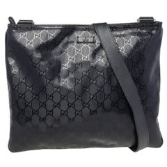 Gucci Black GG Imprime Leather Messenger Bag