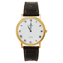 Omega Vintage White 18K Yellow Gold De Ville Men's Wristwatch 32 mm