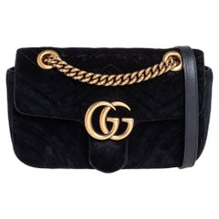 Gucci Black Matelassé Velvet Mini GG Marmont Shoulder Bag