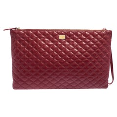 Dolce & Gabbana Red Quilted Leather Pouch