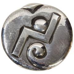 Art Deco Hans Hansen Denmark Sterling Silver Runway Brooch Pin