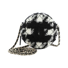 Chanel Round Clutch with Chain and Coin Purse Quilted Tweed with Shearling