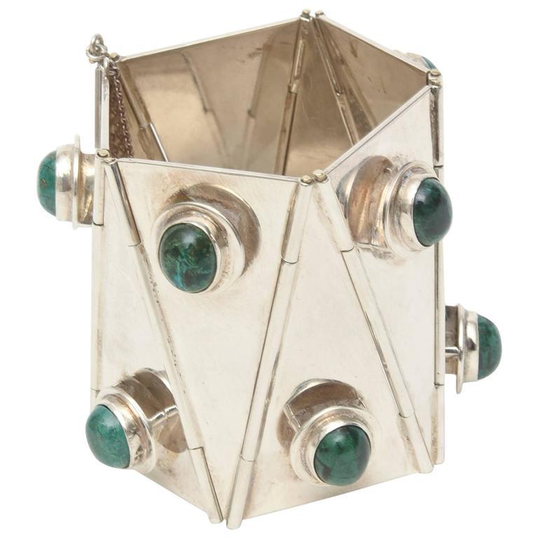 Stellar One of A Kind Geometric, Sterling Silver & Malachite Cuff Bracelet  For Sale