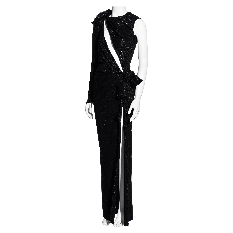 Versace black wool cut out maxi dress with high leg slit, ss 2016