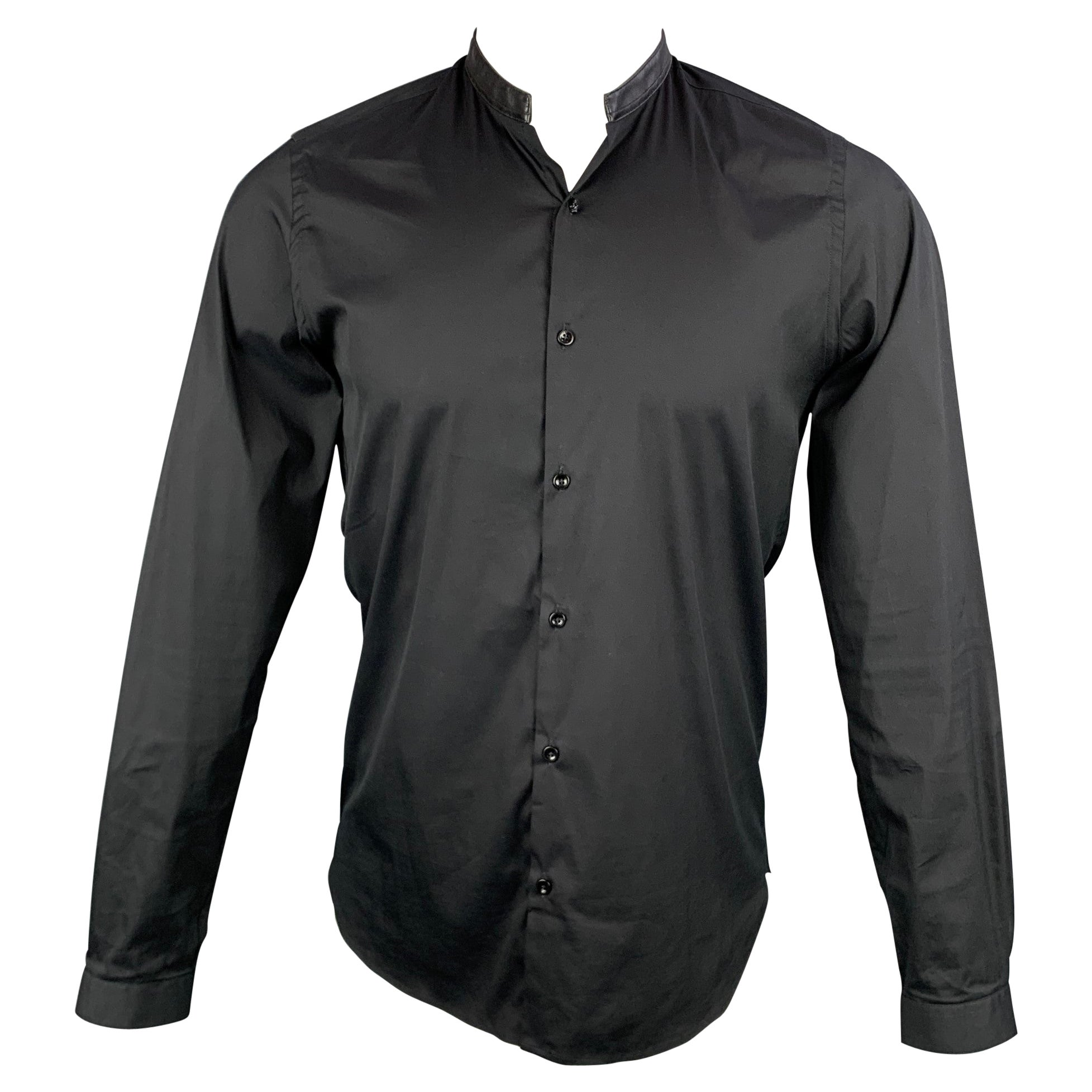THE KOOPLES Size S Black Cotton Leather Nehru Collar Long Sleeve Shirt