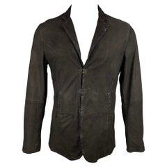 JOHN VARVATOS Size S Black Distressed Suede Notch Lapel Jacket