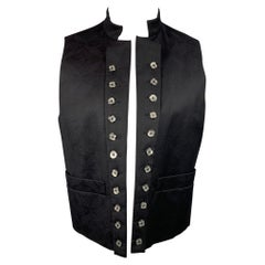 VIVIENNE WESTWOOD MAN Size 40 Black Print Wool / Viscose Blend Open Front Vest