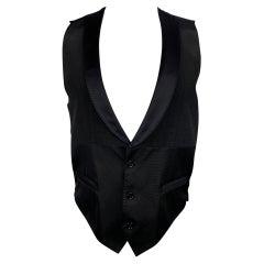 DOLCE & GABBANA Size 38 Black Silk Blend Shawl Collar Vest