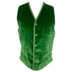 DOLCE & GABBANA Size 38 Green Velvet Cotton Buttoned Vest