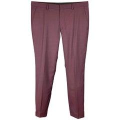 HUGO BOSS Size 34 Burgundy Wool Zip Fly Dress Pants
