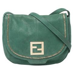 Fendi Green Shimmering Leather Flap Crossbody Bag