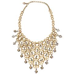 French Geometric Brass & Swarovski Faceted Crystal Bib Necklace