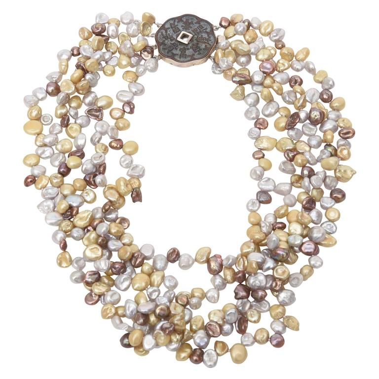 Cultured Freshwater Pearl and Sterling Silver Multi Strand Necklace/  SALE For Sale
