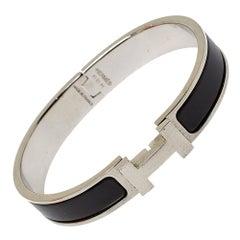 Hermès Clic HH Black Enamel Brushed Palladium Plated Bracelet