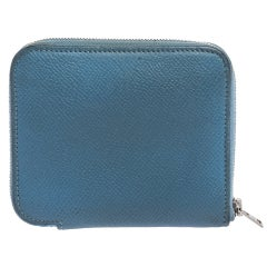 Hermes Bleu Paradis Epsom Leather Azap Compact Wallet