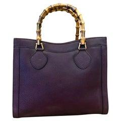 1990s GUCCI Dark Purple Leather Bamboo Tote Princess Diana Tote