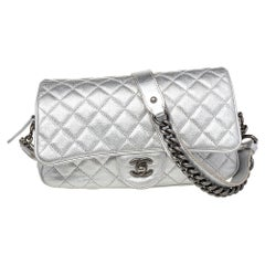 Chanel Silver Quilted Leather Medium Casual Rock Airlines Flap Bag