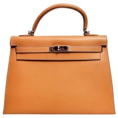 Hermes Kelly 32 Box Calf Leather, As New Condition, Box, Dustcover, Raincoat