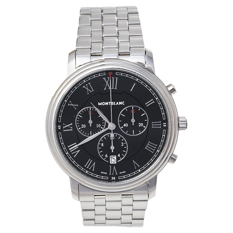Montblanc Black Stainless Steel Tradition 7374 Men's Wristwatch 42 mm For Sale