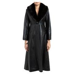 Verheyen London Edward Leather Coat with Faux Fur Collar in Black - Size uk 12