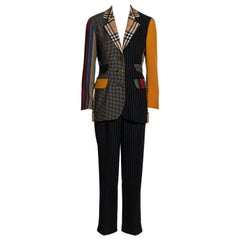 Moschino Couture patchwork wool blazer jacket and pants suit, ss 1994