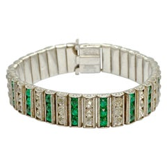 Leach & Miller Art Deco Sterling Silver Bracelet Green Clear Paste Stones 1920s