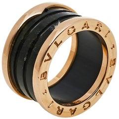 Bvlgari B.Zero1 Green Marble 18K Rose Gold Four-Band Ring Size 50