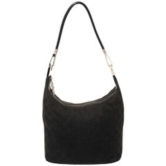 Gucci Black GG Canvas and Leather Vintage Hobo