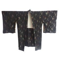 Japanese Black Silk Brocade Antique Haori Kimono Jacket lined in Sakura Jacquard