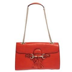 Gucci Orange Leather Medium Emily Chain Shoulder Bag