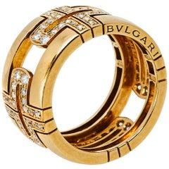 Bvlgari Parentesi Diamond 18K Yellow Gold Wide Band Ring Size 52