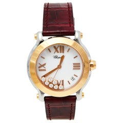 Chopard White 18K Rose Gold Diamonds Happy Sport 8475 Women's Wristwatch 36 mm