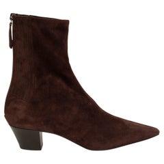 AQUAZZURA dark brown suede SAINT HONORE 45 Ankle Boots Shoes 39