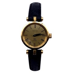 Gucci Vintage Gold Enamel Stainless Steel GG Logo Watch Leather Strap