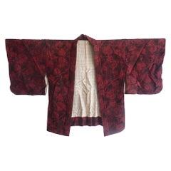 Japanese vintage foliage print silk kimono Haori jacket