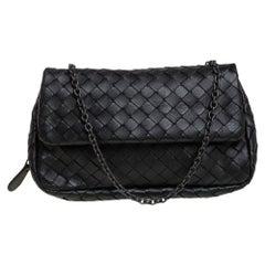 Bottega Veneta Black Intrecciato Leather Mini Flap Chain Crossbody Bag