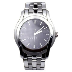 Gucci Silver Stainless Steel Mod 5500 XL Wrist Watch Black Dial