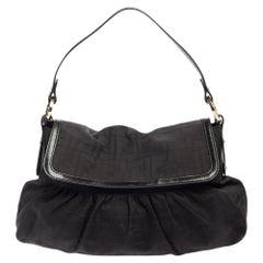 Fendi Black Zucca Canvas and Leather Chef Shoulder Bag